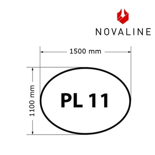 NOVALINE Funkeschutzplatte aus Spezialglas Format PL11 Oval