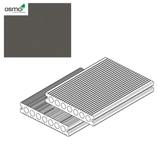 OSMO MULTI-DECK BPC-Terrassendiele Hohlkammer GRAU-gebürstet & geriffelt