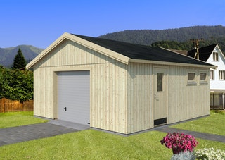 Palmako Nordic+ Gartenhaus/Garage Andre mit Sektionaltor - 28,5 m² - 160 mm