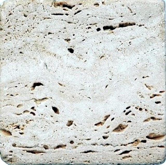 Antik Marmor 1 Cm Travertin Chiaro 10x10x1 Cm Getrommelt