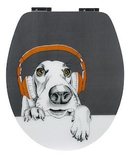 WC-Sitz High-Gloss Dekor DJ Dog Holzkern mit Absenkautomatik