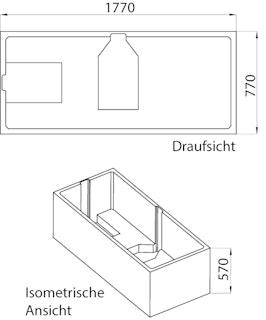 Wannenträger zu Badewanne Onno 180 x 80 cm