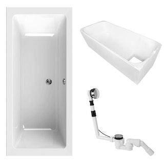 Acryl-Badewannen-Set Luxus 180 x 80 cm, weiß