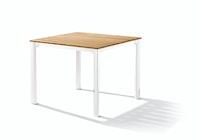 Sieger Gartentisch 95 x 95 cm Aluminium weiß / Teak