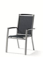 Sieger Stapelsessel TRENTO Aluminium graphit / Kunststoffgewebe grau