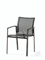 Sieger Stapelsessel BOZEN Aluminium eisengrau / Kunststoffgewebe silbergrau
