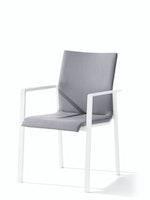 Sieger Stapelsessel LAGOS Aluminium weiß / Kunststoffgewebe hellgrau