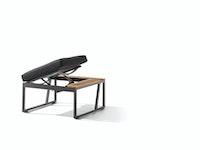 Sieger Eckteil HAVANNA mit verstellbarem Sitz, Aluminium eisengrau / Kunststoffgewebe / Sunproof® (100 % Polypropylen) grau