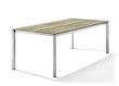 Sieger Tisch 220 x 100 cm Aluminium graphit / HPL Eiche hell