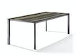 Sieger Tisch 220 x 100 cm Aluminium eisengrau / HPL Eiche dunkel