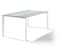 Sieger Ausziehtisch 180/235 x 100 cm Aluminium weiß / HPL Moon
