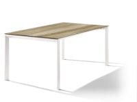 Sieger Ausziehtisch 180/235 x 100 cm Aluminium weiß / HPL Eiche hell