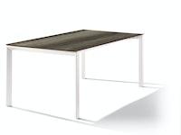 Sieger Ausziehtisch 180/235 x 100 cm Aluminium weiß / HPL Eiche dunkel