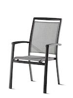 Sieger Stapelsessel ROYAL Aluminium eisengrau / Kunststoffgewebe hellgrau
