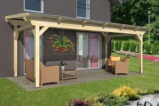 Skan Holz Sanremo aus Leimholz ohne Mittelpfosten Breite 648 cm freistehende Terrassenüberdachung