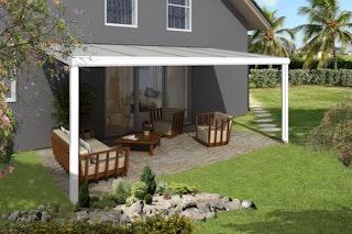 Skan Holz Aluminium Terrassenüberdachung Genua Breite 541 cm