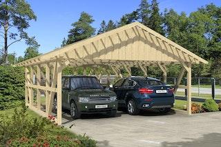 Skan Holz Schwarzwald - Satteldach Doppelcarport Breite 684 cm