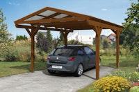 Skan Holz Westerwald Design Einzelcarport aus Leimholz 362 x 541 cm nussbaum B-Ware
