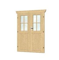 Skan Holz Doppeltür halbverglast für 28 mm Blockbohlenhäuser (A)