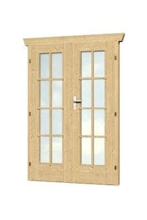Skan Holz Doppeltür vollverglast für 28 mm Blockbohlenhäuser Echtglas (B)
