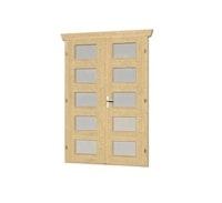 Skan Holz Doppeltür vollverglast für 28 mm Blockbohlenhäuser Milchglas (C)