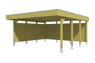 Skan Holz Carport Friesland 557x555 cm inkl. Rück- und Seitenwände Sparset 3