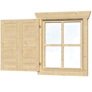 Skan Holz Fensterläden für 28 mm Blockbohlenhäuser Einzelfenster einseitig