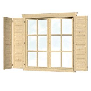 Skan Holz Fensterläden für Blockbohlenhäuser Doppelfenster groß