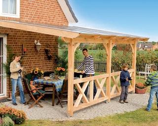Skan Holz Terrassenüberdachung Rimini aus Douglasie mit Mittelpfosten Breite 434 cm