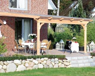 Skan Holz Terrassenüberdachungen Ravenna o. Mittelpfosten Breite 434 cm aus Douglasie
