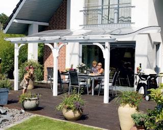 Skan Holz Terrassenüberdachung Venezia mit Mittelpfosten Breite 434 cm