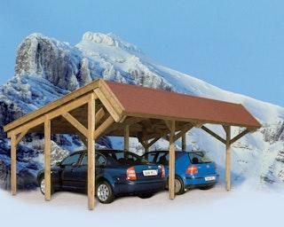 Skan Holz Harz - Pultdach Doppelcarport aus Nadelholz Breite 624 cm
