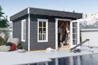 Skan Holz Gartenhaus Breda 2 - 28 mm inkl. gratis Fundamentanker/Pads
