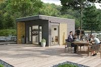 Skan Holz Gartenhaus Tokio 4 - 19 mm inkl. gratis Fundamentanker/Pads