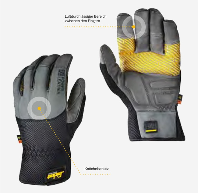 Snickers Workwear 9535 9536 Power Leather Handschuh