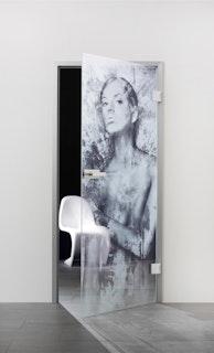 SPRINZ Ganzglasdrehtür Mailand Sondermaß max 1000x2200mm Weißglas