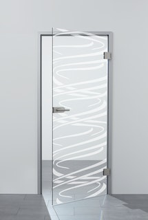 SPRINZ Ganzglasdrehtüre Laserinnengravur Motiv LÖRRACH aus Weißglas