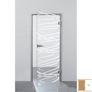 SPRINZ Ganzglasschiebetüre Laserinnengravur Motiv LÖRRACH aus Weißglas
