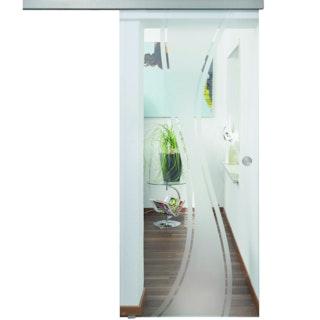 Design-Ganzglasschiebetüre MOLLY Satinato Komplettset- ESG 8 mm