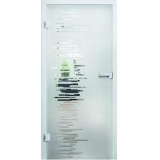 Design-Ganzglasdrehtüre LILLY Satinato Komplettset- ESG 8 mm