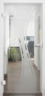 Design-Ganzglasdrehtüre MOLLY Satinato Komplettset- ESG 8 mm