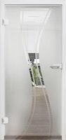 Design-Ganzglasdrehtüre LUCY Satinato Komplettset- ESG 8 mm