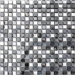 Mosaik grau/silber 1,5x1,5 cm auf Netz 30x30 cm