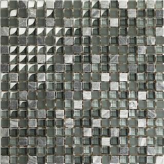 Mosaik grau grün 1,5x1,5 cm auf Netz 30x30 cm