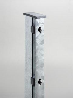 T&J JERRY Doppelstabmatten-Pfosten mit Flacheisenleiste