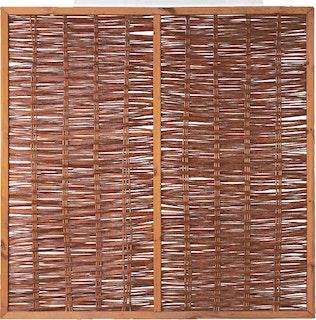 T&J FOGO Weidengeflechtzaun mit Rahmen und Strebe 180 x 180