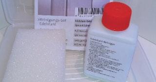 T&J VETRO Edelstahl Reinigungsset 100 ml, inkl. Schwamm
