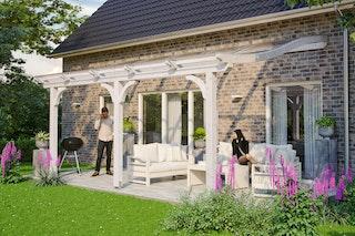 Skan Holz Terrassenüberdachung Venezia mit Mittelpfosten Breite 541 cm