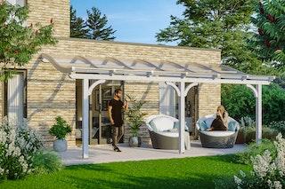 Skan Holz Terrassenüberdachung Venezia mit Mittelpfosten Breite 648 cm
