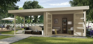 Weka Designhaus 126 B+ inkl. 300 cm Anbau und extra hoher Tür - 28 mm